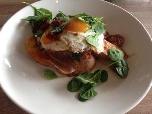 Potatas bravas, chorizo, jamon, fried eggs, spinach